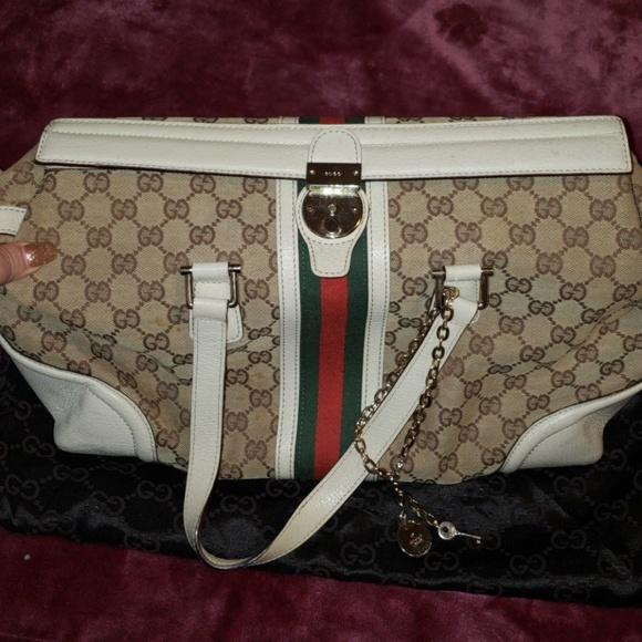 4b168640bc8 Gucci Handbags -  Rare Vintage  Gucci GG coated Canvas Lrg Boston